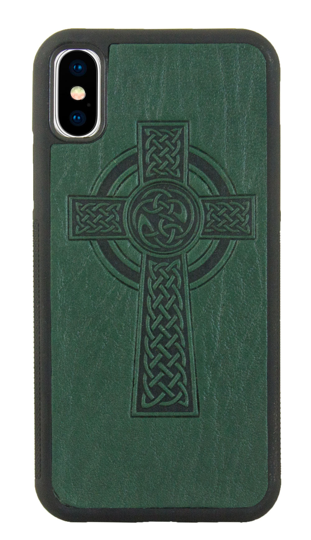 iPhone XS MAX Leather Case, Celtic Cross in Green