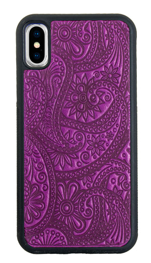 iPhone X / XS Leather Case, Paisley in Orchid