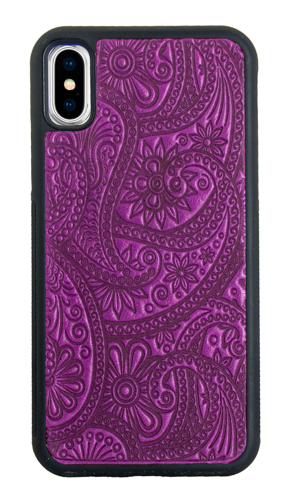 iPhone XS MAX Leather Case, Paisley in Orchid