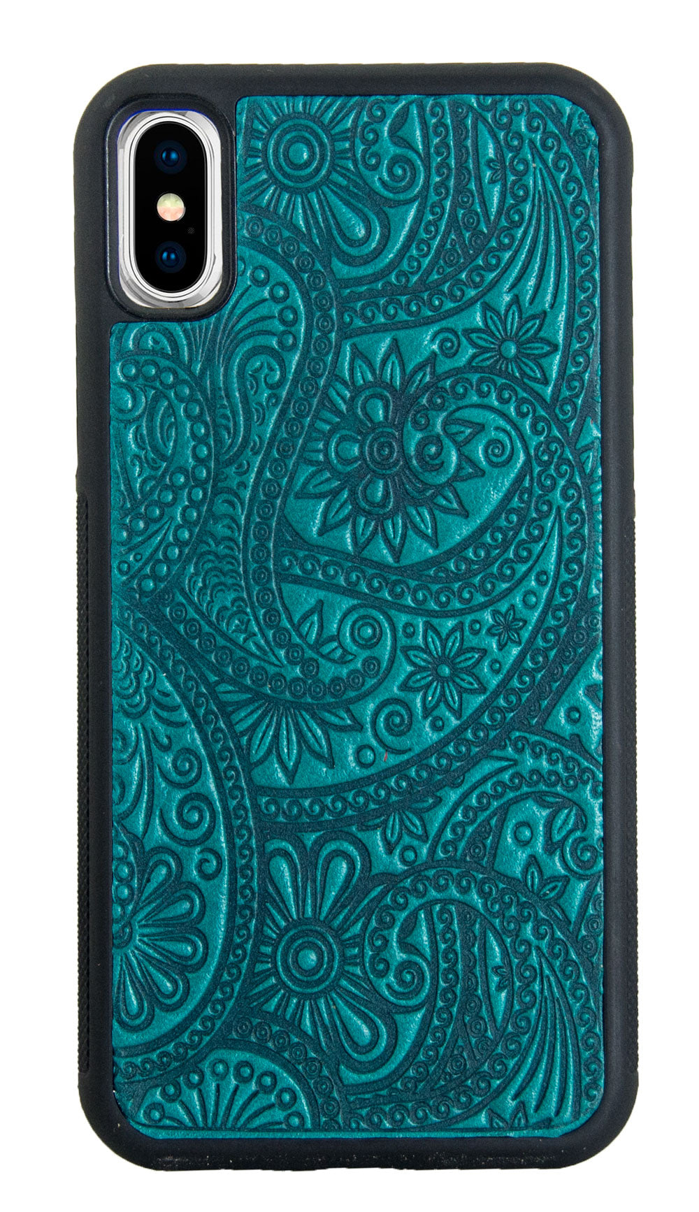iPhone XR Leather Case, Paisley in Teal