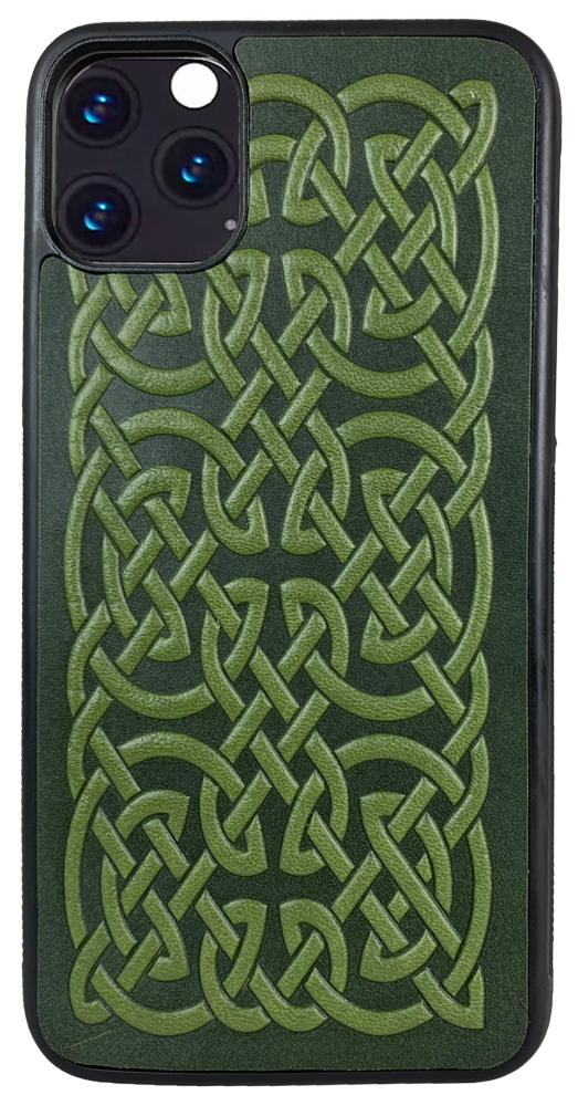 iphone 11 PRO-MAX Leather Case, Bold Celtic in Fern
