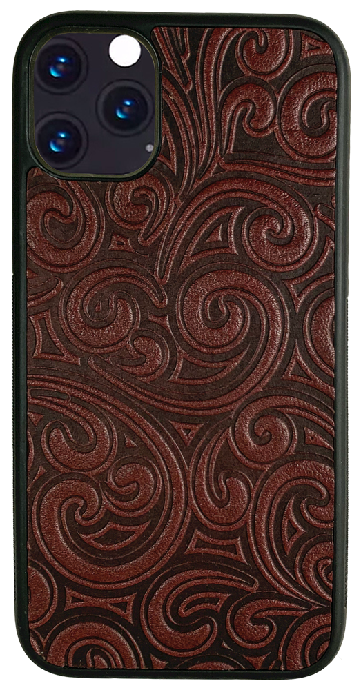 iPhone 12 Mini Leather Case, Rococo in Wine