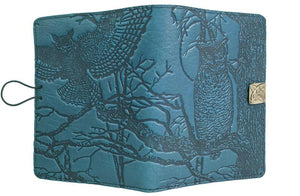 Leather Cover for Kindle e-Readers, Horned Owl in Sky Blue