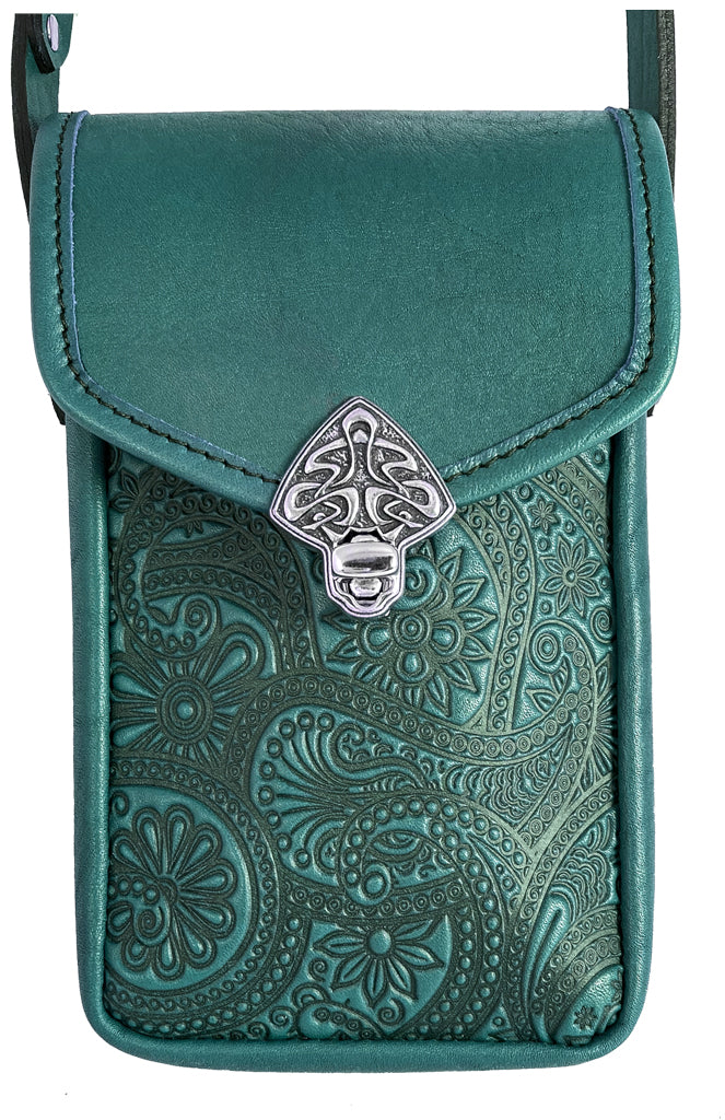 "Leather ""Molly "" Women's Cell Phone Handbag, Paisley, 2 Colors"