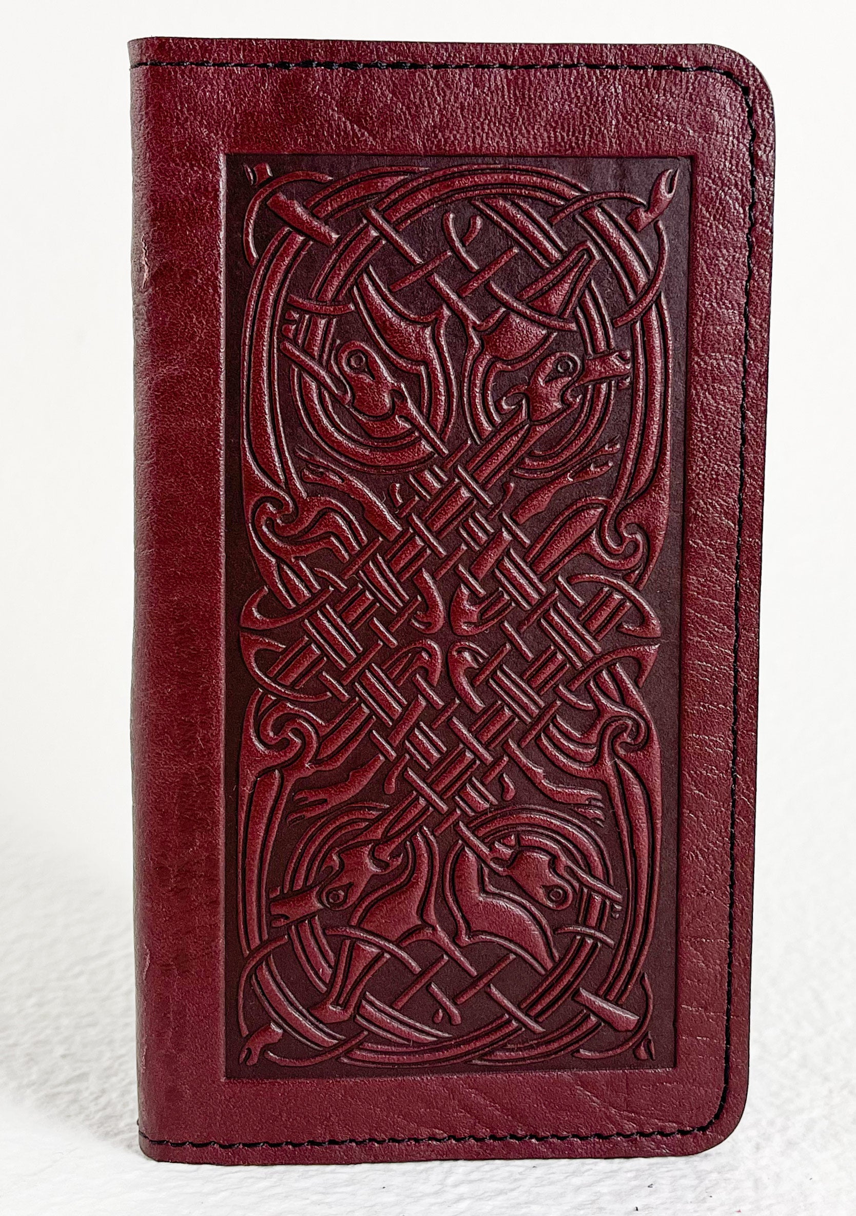 SECOND | Checkbook Cover, Celtic Hounds in Wine, 1 of 2
