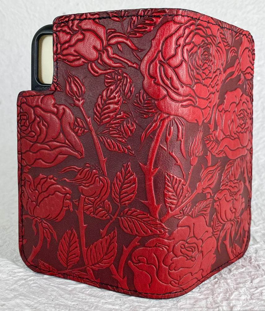 SECOND | Leather Wallet Folio Case for iPhone XR | Wild Rose in Red