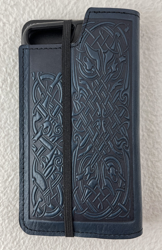 SECOND | Leather Wallet Folio Case for iPhone 7 Plus or 8 Plus |  Celtic Hounds in Navy