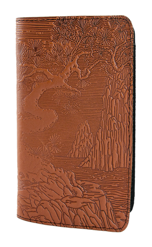 Leather Checkbook Cover | River Garden in Saddle