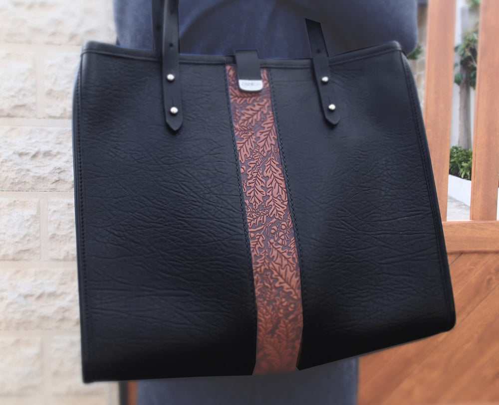 Leather Handbag, Sonoma Tote, Oak Leaf in Saddle