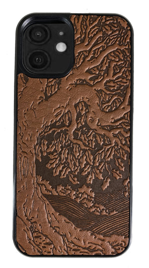 iPhone 12 Mini Leather Case, Tree of Life in Saddle