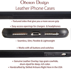 Leather iPhone Case, Water Lily Koi, 2 Colors
