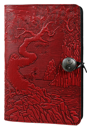 Large Leather Notebook Cover| River Garden in Red