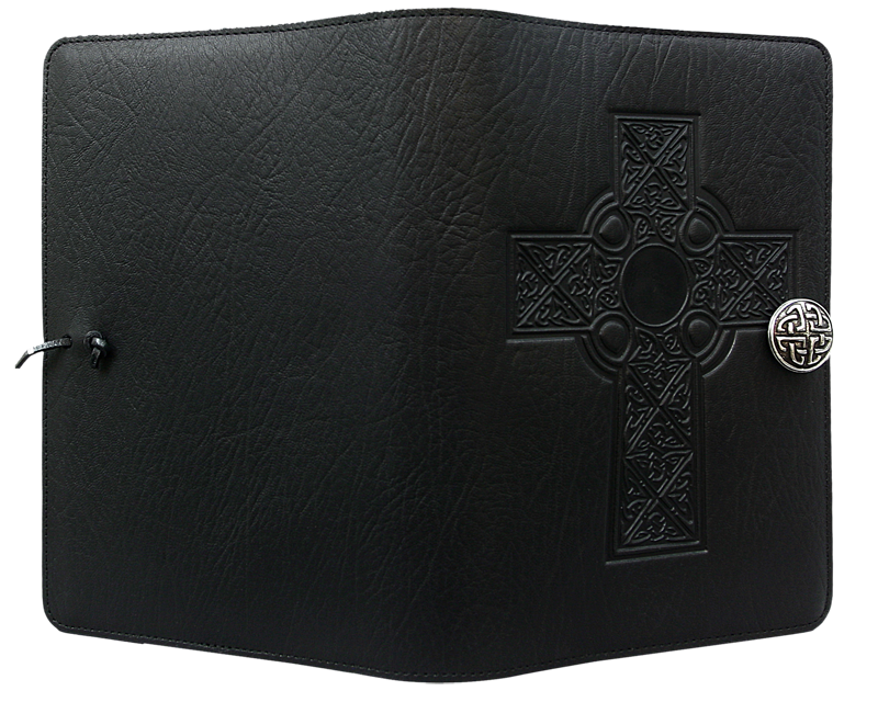 Leather Journal Cover | Celtic Cross in Black