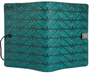 Large Leather Notebook Cover, Mariposas in Teal