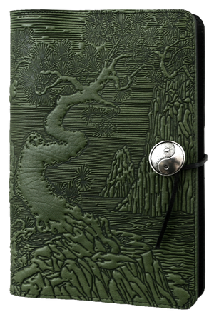 Large Leather Notebook Cover| River Garden in Fern