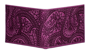 Leather Bi-fold Wallet | Paisley in Orchid