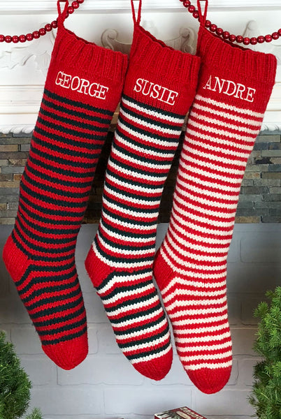 personalized hand knit striped Christmas stockings