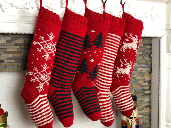 Red white knit christmas stockings