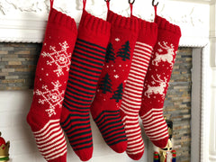 Red and white hand knit personalized Christmas stockings