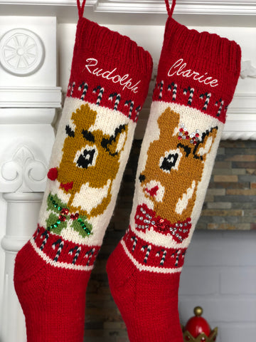 Rudolph Clarice Hand Knit Christmas Stockings