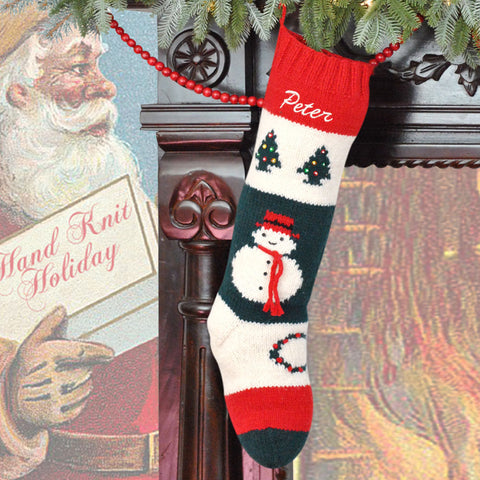 Knitted Snowman  Christmas Stockings / Personalized Wool Christmas Stocking / Vintage Bernat Christmas Stocking / Embroidered Wool Stocking