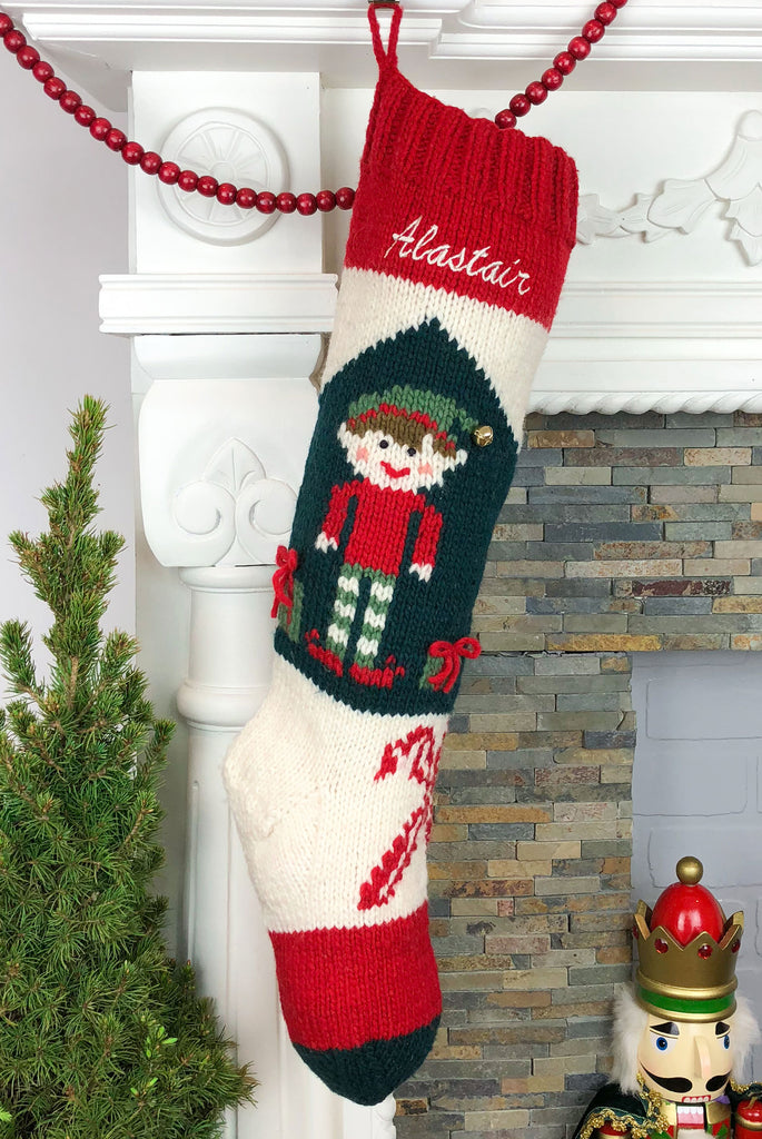 Personalized hand knit elf Christmas stocking