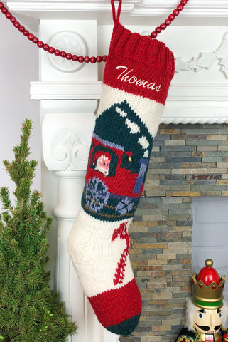 Bernat Hand Knit Personalized Christmas Train Stocking