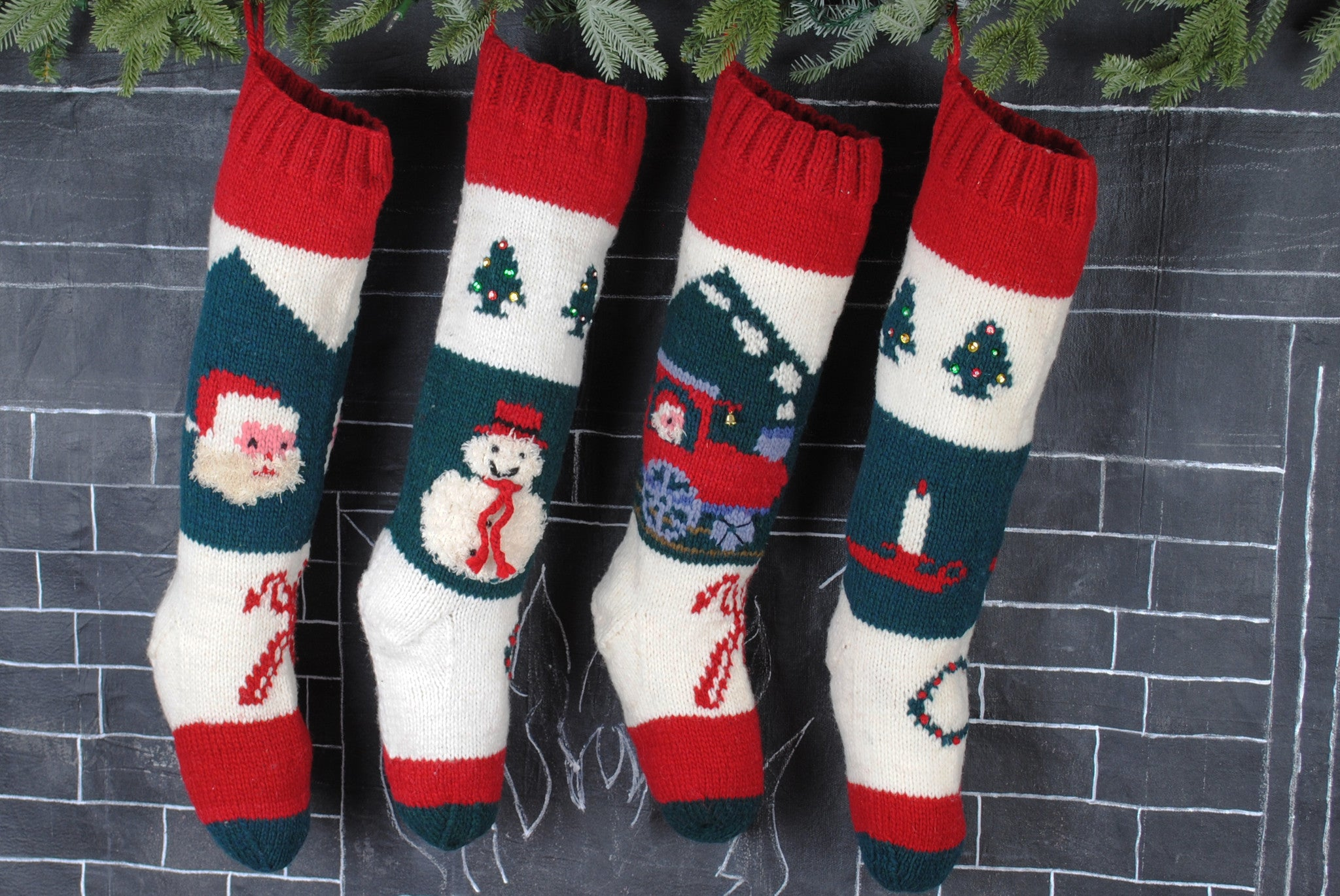 Personalized Train Christmas Stocking – Hand Knit Holiday