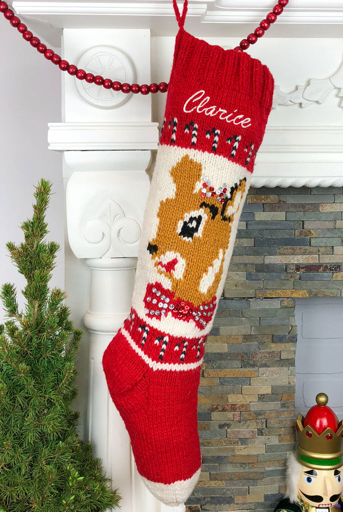 Personalized Christmas Stocking Hand Knit Wool