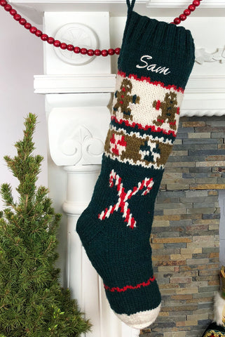 Gingerbread Knit Wool Christmas Stocking