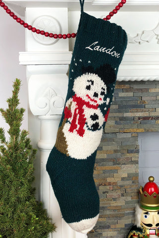 Green Frosty Christmas Stocking