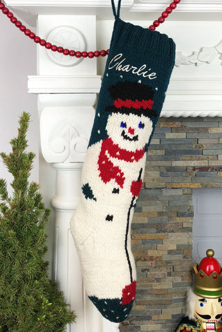 Personalized Green Wool Snowman Christmas Stocking