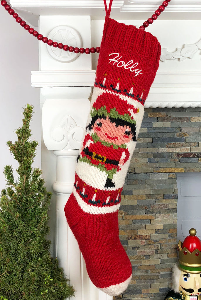 Jolly Elf Girl Personalized Christmas Stocking