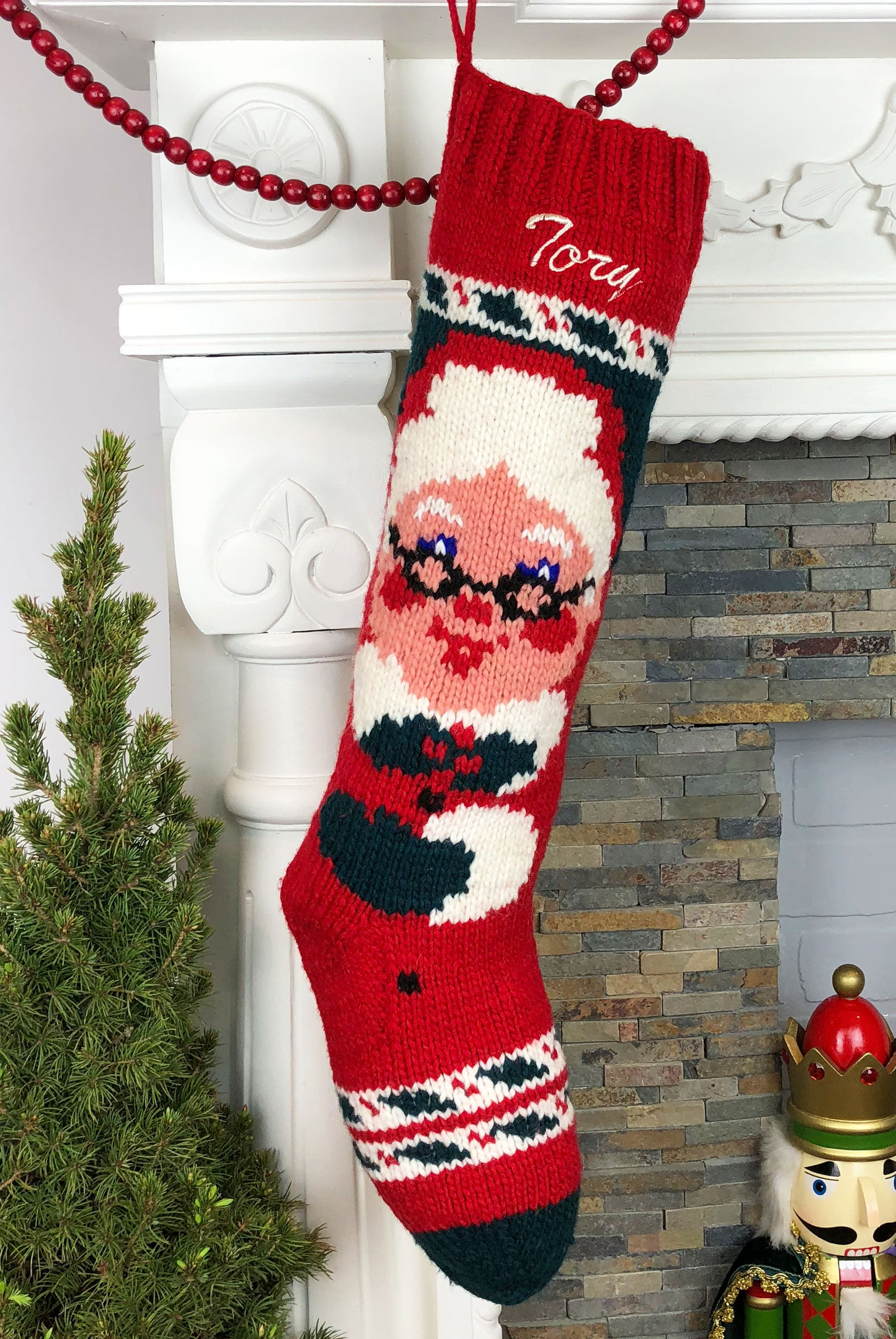 Personalized Mrs Claus Christmas Stocking – Hand Knit Holiday