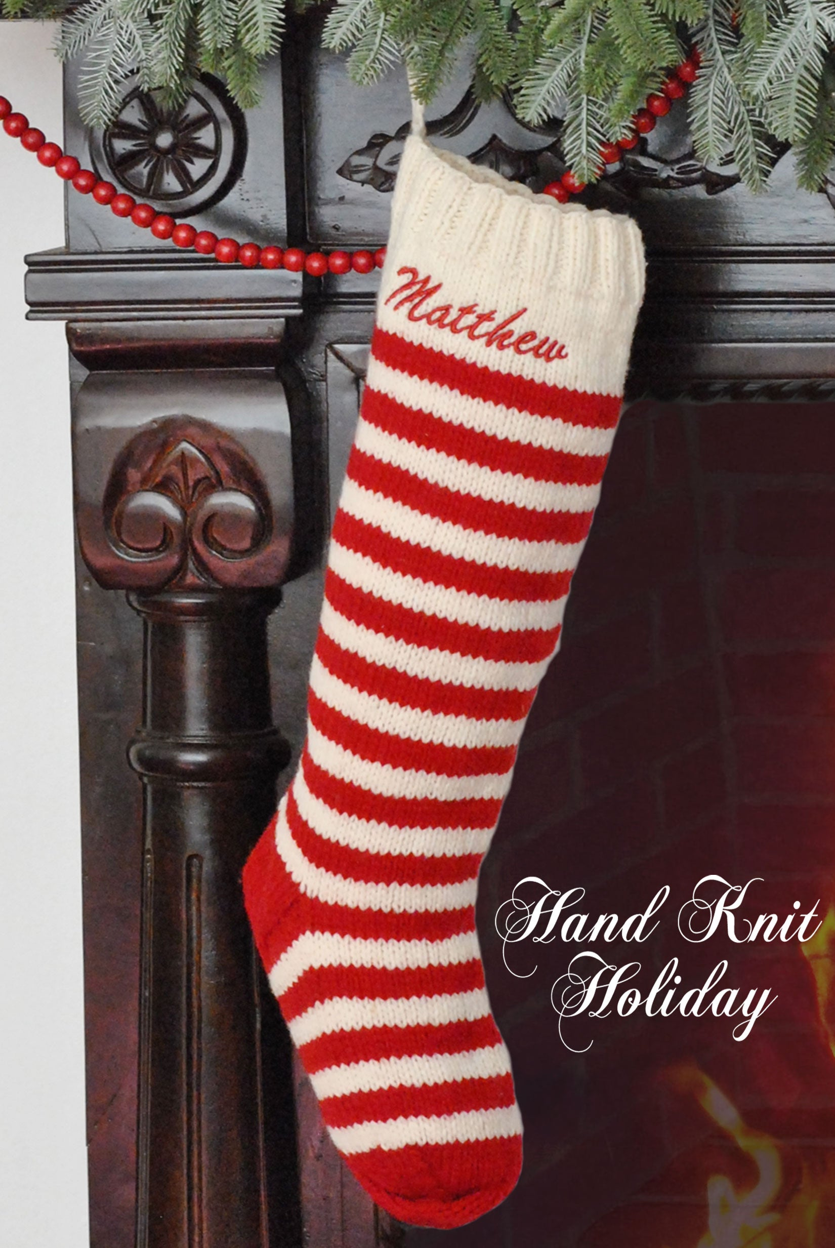 Winter White & Red Striped Hand Knit Wool Christmas Stocking ...