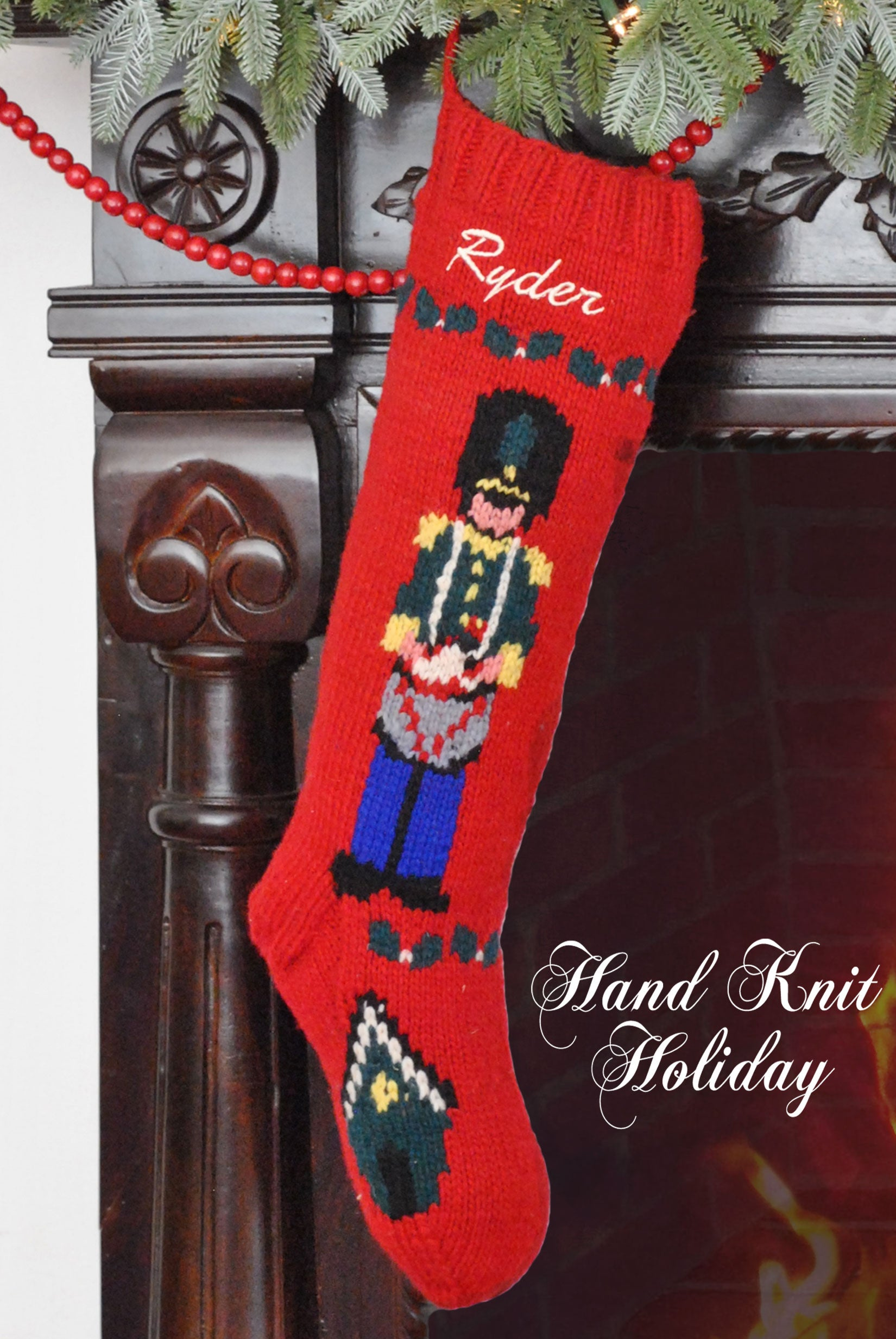 Personalized Drummer Boy Christmas Stocking – Hand Knit Holiday