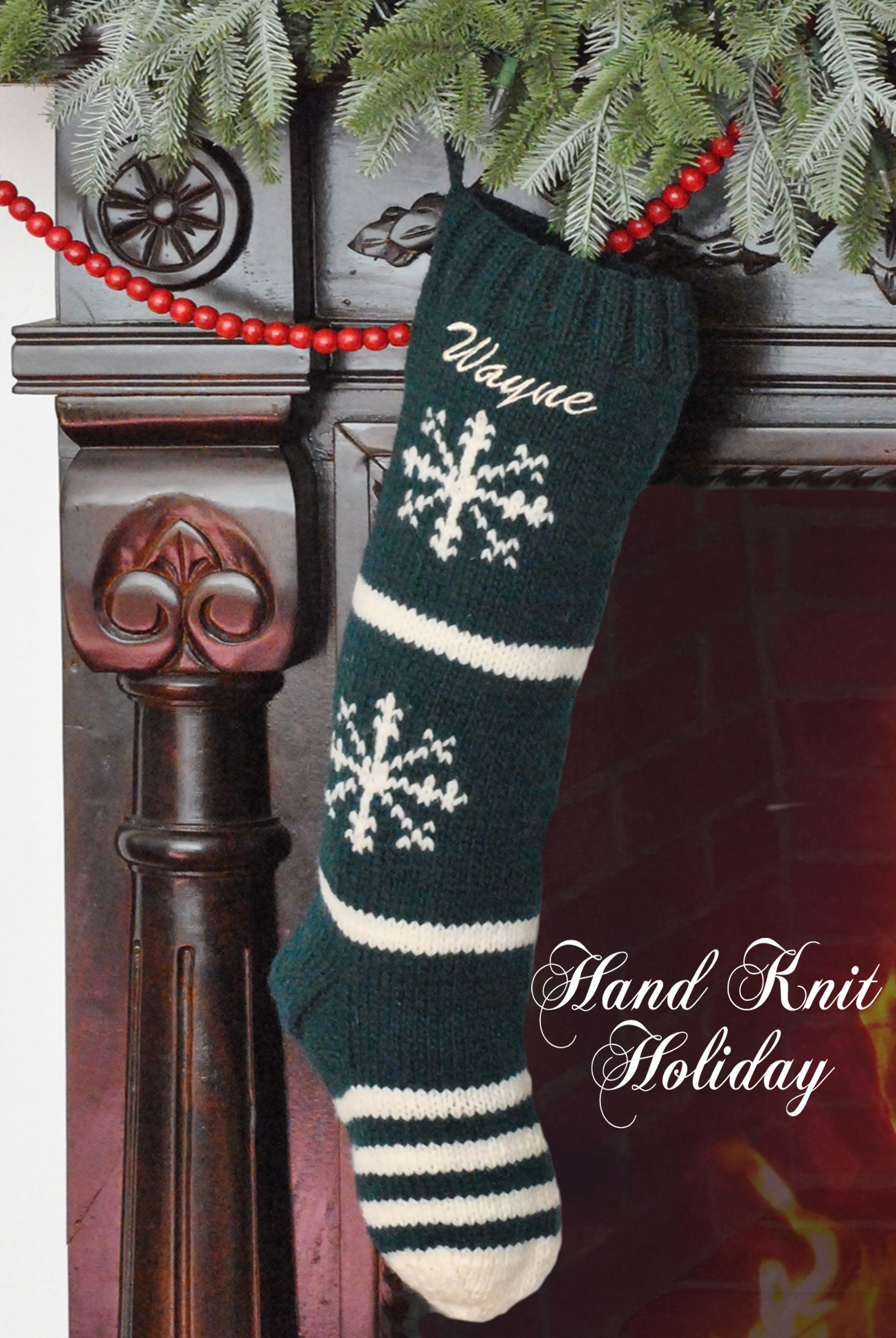 Green & White Snowflake Christmas Stocking – Hand Knit Holiday