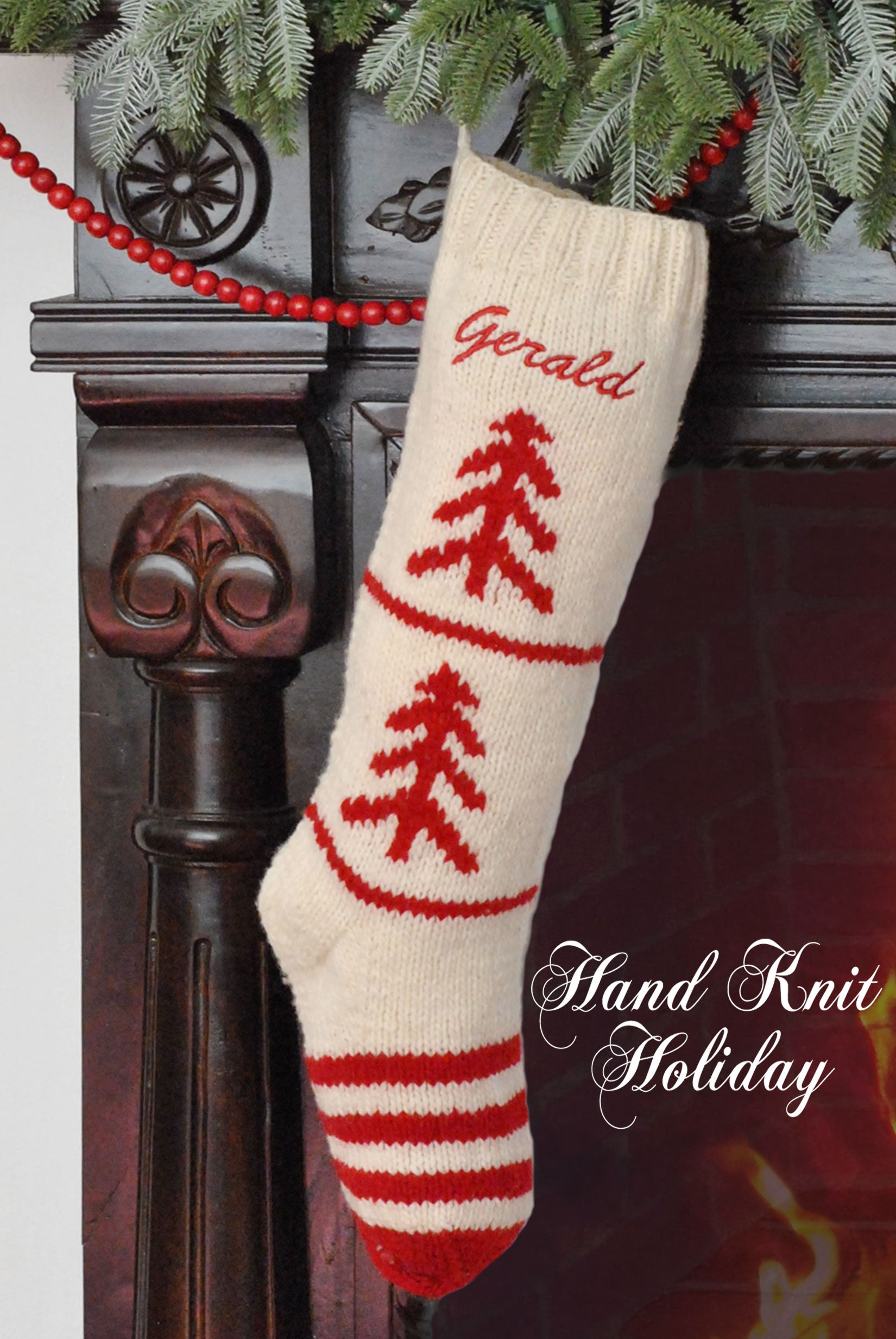 White & Red Hand Knit Wool Christmas Tree Stocking – Hand Knit Holiday
