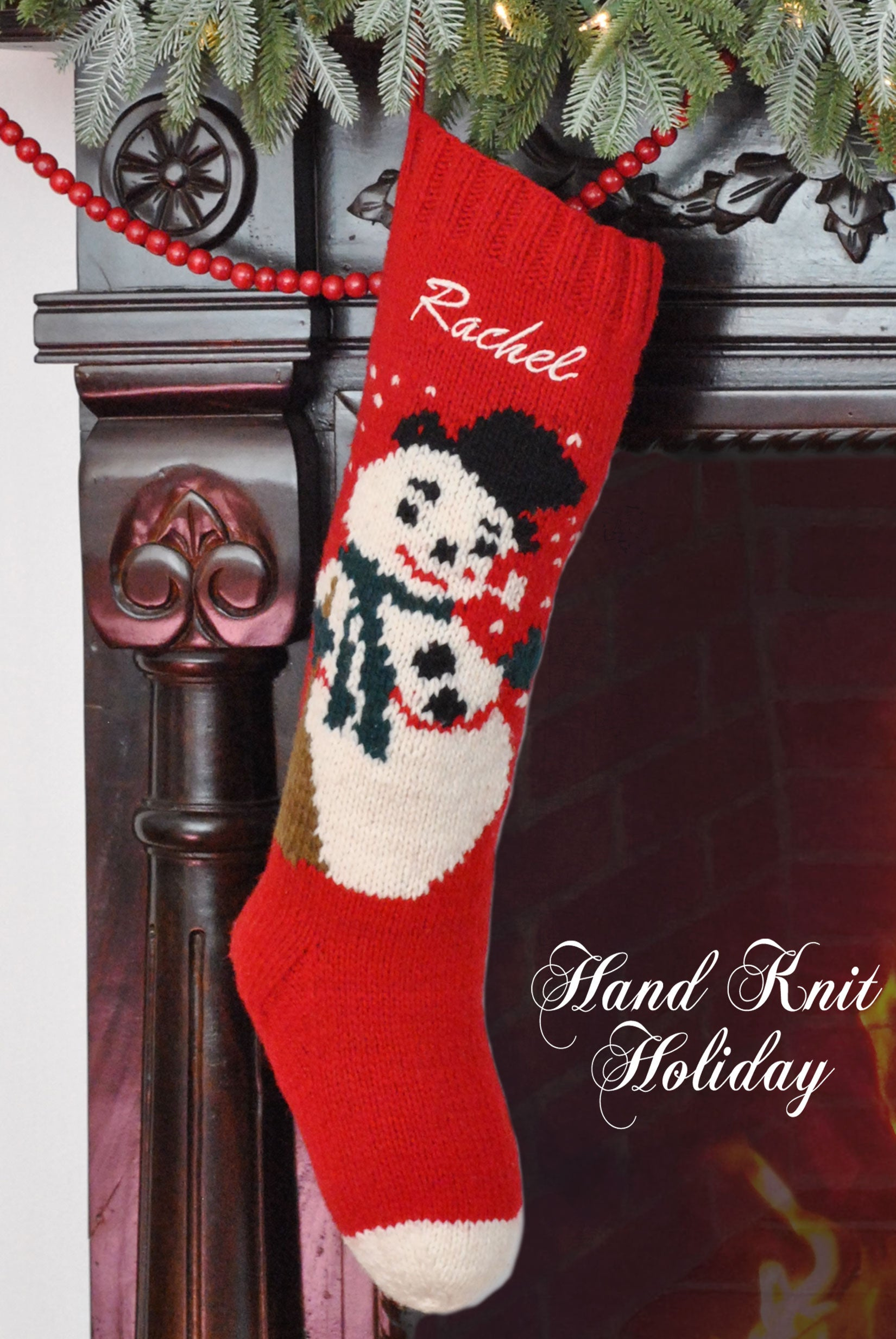 Personalized Snowman Christmas Stocking – Hand Knit Holiday