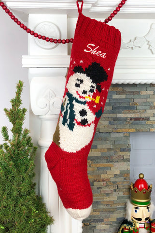 Red Frosty Christmas Stocking