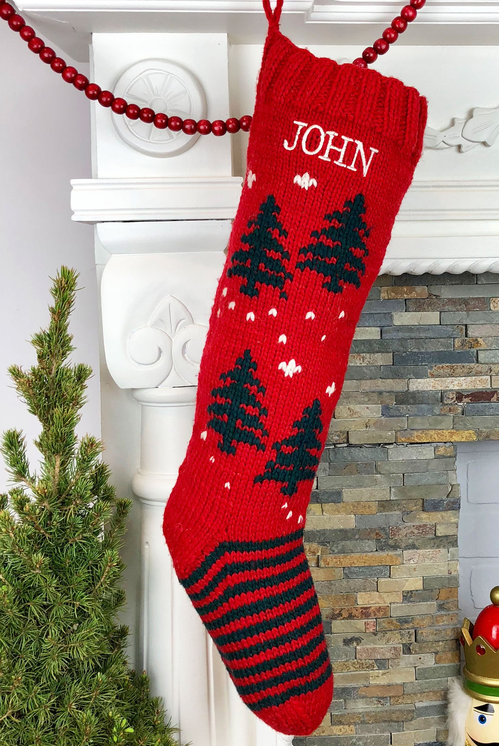 Red Christmas Stocking.Red Green Tree Christmas Stocking