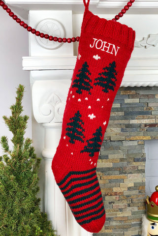 Personalized knit Christmas stocking Trees