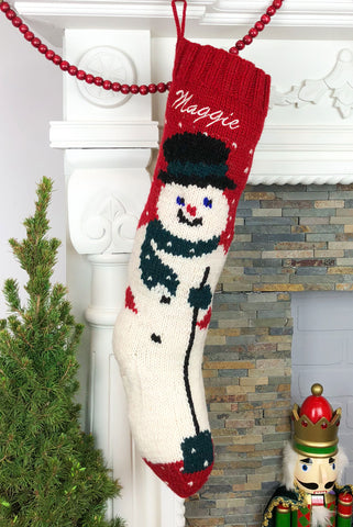 Personalized Wool Snowman Christmas Stocking