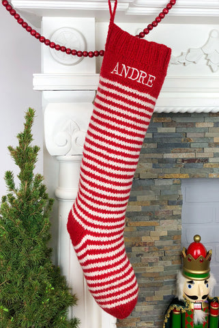Red & White Striped Christmas Stocking