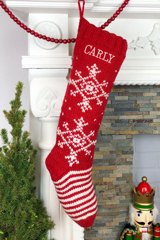 Red Snowflake Christmas Stocking