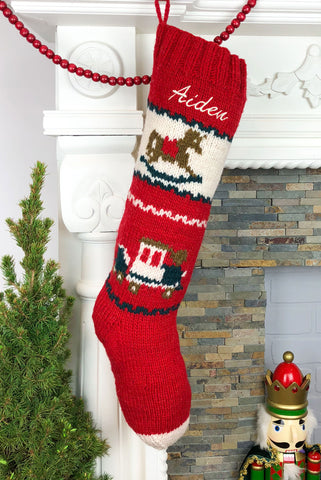 Rocking Horse Hand Knit Christmas Stocking