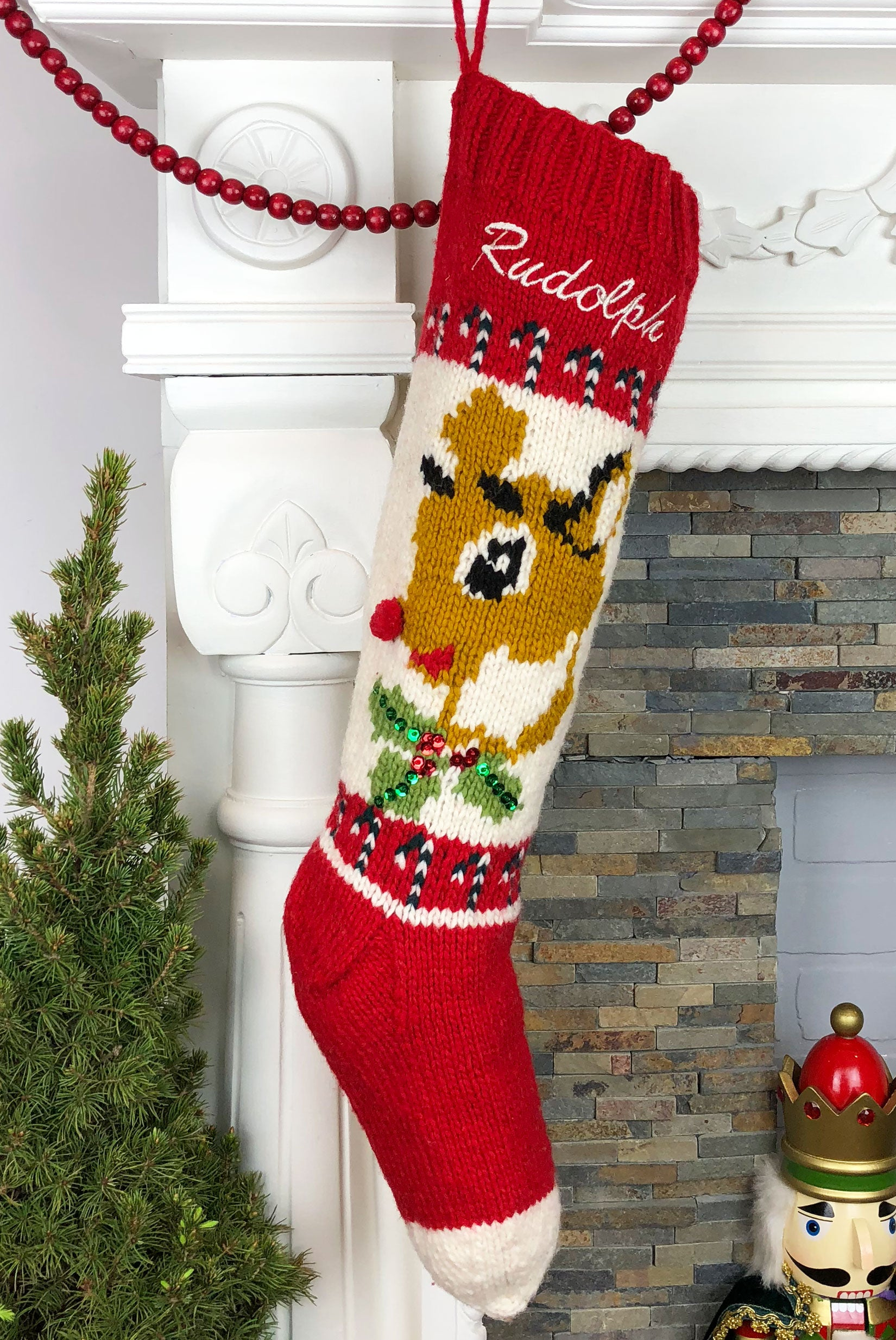 Personalized Reindeer Christmas Stocking – Hand Knit Holiday