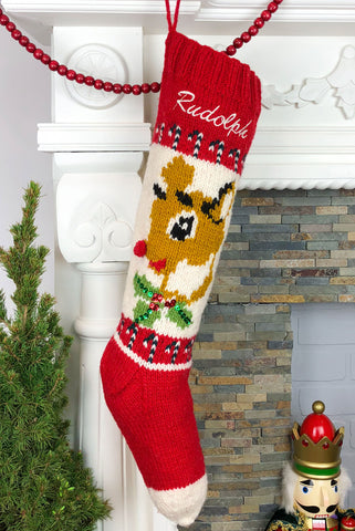 Rudolph Reindeer Christmas Stocking