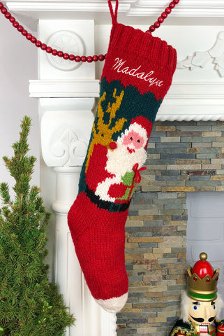 Santa Reindeer Christmas Stocking