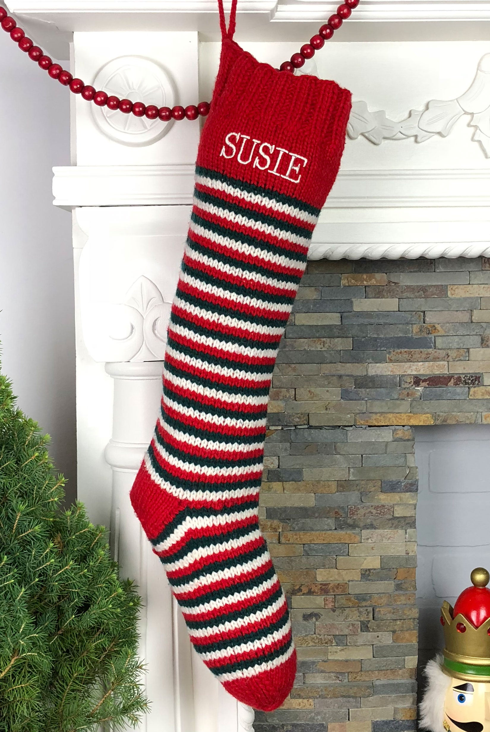 Red White Green Striped Christmas Stocking